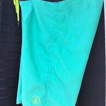 Volcom Green Bermuda Board Shorts Size 0 (26 X 19) Photo