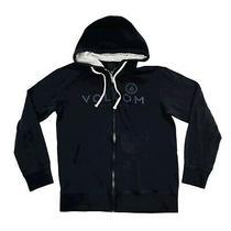 Volcom Hooded Sweatshirt Men's Large Black Full Zip Hoodie Long Sleeve Logo Good Photo