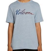 Volcom Mens Blue Size Small S Fast Script Signature Crewneck Graphic Tee 009 Photo