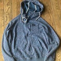 Volcom Mens Hooded Sweatshirt 1/4 Button Up Navy Blue Paisley Medium Hoodie  Photo