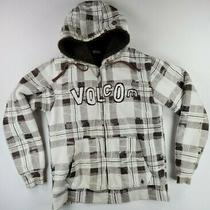 Volcom Mens Hoodie Sweatshirt Jacket Size Large Faux Fur Lined Plaid White Brown Photo
