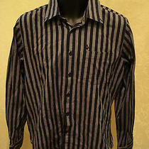 Volcom  Mens M Tailored Striped Button Front Shirt Skater Surfer Black Gray Ec Photo