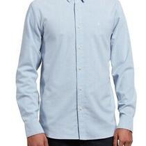 Volcom Mens Shirt Blue Size Medium M Button Down Modern Fit Oxford 60 372 Photo