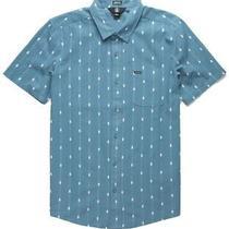 Volcom Mens Shirt Blue Size Small S Button Down Bonga Striped Ss 60 095 Photo