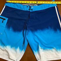 Volcom Mod-Tech Mod Men's Blue & White Beach Board Shorts Size 38 Swim Trunks Photo