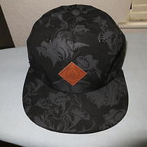 Volcom Shrooms Strapback Hat Black/grey Cap W/ Leather Strap and Patch Logo Used Photo