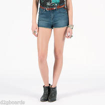 Volcom Stix Hi-Rise Short Womens Size 5 Denim Jean Shorts Nwt New Mr243 Photo