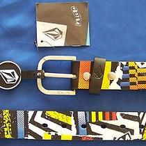 Volcom Stone Mens 35 Polyurethane Pu Sampler Belt Black W/logos Size 33-39 Photo