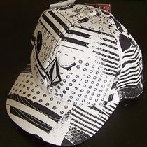 Volcom Stoneage Cheese Mens 25 Snapback Cotton Hat White W/black Pattern 1 Size Photo