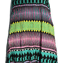 Volcom Womens Small Tribal Print Mini Dress Thin Strap Tank Pink Green Yellow Photo