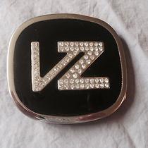 Von Zipper Belt Buckle Logo Color Black Silver Rhinestones Good Condition Photo
