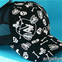 Von Zipper Grave Trucker Mens Boys Cap Black  White Skulls Bones Hat Onesize New Photo
