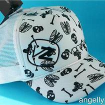 Von Zipper Grave Trucker Mens Boys Cap  White Skulls Bones Skate Hat Onesize New Photo