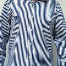 Von Zipper Mens Casual Blue White Dress Shirt Long Sleeve Size Med New Rrp 139 Photo