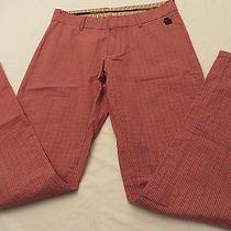 Vonzipper Mens  Red Cream  Black Checkered Long Straight Leg Pants 30 Photo