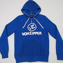 Vonzipper Roy Mens Blue Full Zip Fleece Embroidered Sweatshirt Hoody Nwt  S  54 Photo