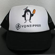 Vonzipper Trucker Hat Black & White Adjustable With Penguin Print Brand New Photo