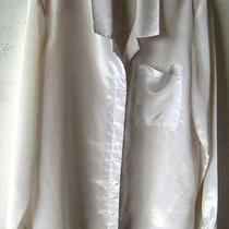 Vtage Long Sleeves White Poly Blouse by Avon Fashions 9/10 Buton Front 1 Pocket Photo