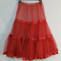 Vtg 1950s Tulle Crinoline Ribbon Trim Skirt Fantasy Lingerie Red Great Condition Photo