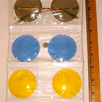 Vtg 1960's 1970's John Lennon Glasses 4 Sets of Round Colored Lenses in Case  Photo