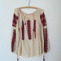 Vtg 1970's Embroidered Romanian Folk Cream Gauze Peasant Blouse Tassels a.p.c  S Photo