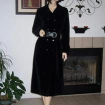 Vtg 1970's Talbot's Drizzle Inc. Black Velvet Double Breasted Long Trench Coat Photo