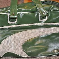 Vtg 1970s 1980s Puma Green White Large Gym Duffel Weekend Over Night Travel Bag Photo