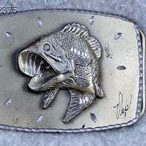 Vtg 1979 Jumping Fish Pewter Belt Buckle Great American Buckle Co Bass Fishing Photo
