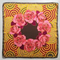 Vtg 1980s Lanvin 100% Silk Scarf Floral Roses Gold Print Almost Mint Cond.  Photo