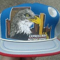 Vtg-1980s United States Post Office Zip4 Express Mail Snapback Hat Moon Usps Photo