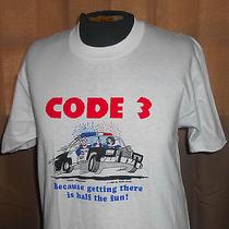 Vtg 1980s White T Shirt - Code 3 - Funny Police - Wally Davis 1985 - Large Photo