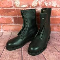 Vtg 1988 Addison Women's Rare Sz 2.5 Black Leather Military Combat Boots Photo
