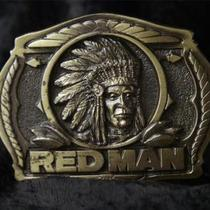 Vtg 1988 Great American Buckle Red Man Tobacco Limited Brass Cowboy Belt Buckle Photo