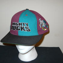 Vtg-1990s Anaheim Mighty Ducks Alternate Darkwing Goalie Snapback Hat Sku9 Photo