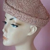 Vtg 40s 50s Blush Fascinator Wool Hat Beading Rhinestones Photo
