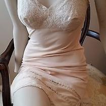 Vtg 50's/60's Laros Blush Beige Full Slip Lingerie Lace Bust 2 Side Slits Sz 32 Photo