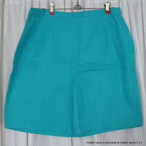 Vtg 50's 60's Turquoise Blue Cotton Ladies Shorts Metal Side Zipper Waist 35