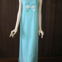 Vtg 60's Sheer Aqua Chiffon Lace Evening Dress Xs Photo