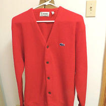 Vtg 60s Izod Lacoste Alligator Cardigan Sweater Red Orlon Acrylic L Photo