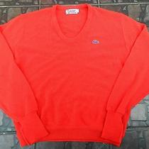 Vtg 70' Izod Lacoste Acrylic Cardigan Sweater Red  Size L Photo