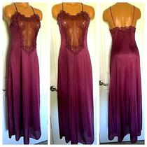 Vtg 70's Blush Lingerie Magenta W/ Lace & Chiffon Long Nylon Nightgown Sz M Photo