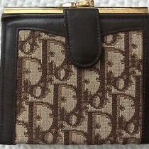 Vtg 70's Christian Dior Monogram Logo Brown Leather Canvas Trotter Wallet Bifold Photo