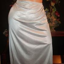 Vtg 70's Silky Silver Shine Shiny Half Dressing Slip Pin Up Lingerie 42