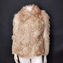 Vtg 70s Blush Blond Curly Mongolian Lamb Shearling Fur Cropped Poodle Bomber Xs  Photo