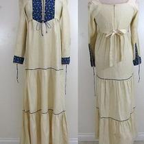 Vtg 70s Boho Renaissance Medieval Fantasy Goth Tied Corset Maxi Dress Gown S/m Photo