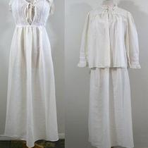 Vtg 70s Christian Dior Bed Jacket Sheer Empire Waist Lingerie Peignoir Set M Photo
