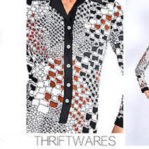 Vtg 70s Geometric Abstract Art Print Lanvin Shirt Mod Midi Op Art Dress Xs/s Photo
