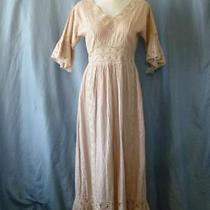 Vtg 70s Nude Blush Hippy Mexican Wedding Boho Crochetpintuck Maxi Dresss/meuc Photo