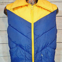 Vtg 70s Penfield Trailwear Yellow Blue Down Feather Puffer Vest Mens Size Sm Photo