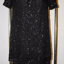 Vtg '80's Adrianna Papell Boutique Beaded Dress Sz 6 Black Short Formal Cocktail Photo